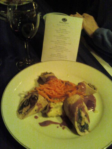 Veal Roulade with Mushroom Duxelle, Spinach Garlic Smashed Potato, Glazed Carrots and Beurre Rouge by Chef Derek Roth