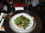 Salad of Red Romaine and mustard greens with dried cranberries and walnuts; wine: Traminette