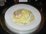 Salmon with caper butter on a bed of couscous; wine: Leighton