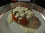 Sausage stuffed tomato with Gorgonzola cream sauce; wine: Dark Continent